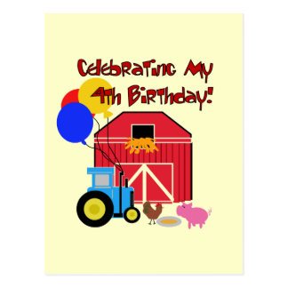 Farm 4th Birthday Tshirts and Gifts Post Cards