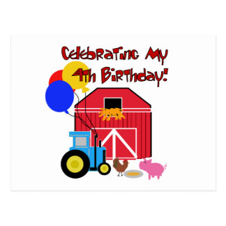 Farm 4th Birthday Tshirts and Gifts Postcard