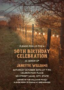 Farm 50th Birthday Invitations Rustic Country Path