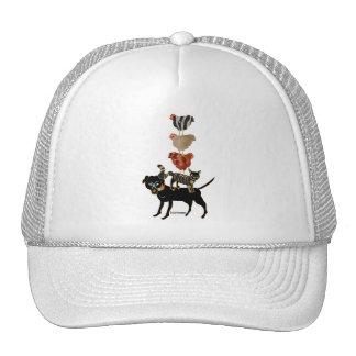 Farm acrobats illustration.dog.cat.hens art mesh hat