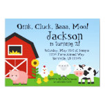 Farm Animal and Barn Birthday Party Invite 13cm X 18cm Invitation Card