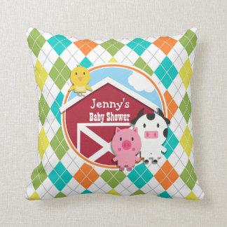 Farm Animal Baby Shower on Colorful Argyle Cushion