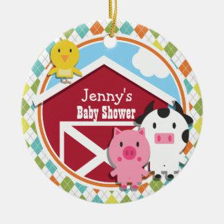 Farm Animal Baby Shower on Colorful Argyle Round Ceramic Decoration