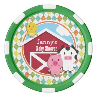 Farm Animal Baby Shower on Colorful Argyle Set Of Poker Chips