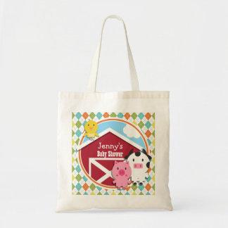Farm Animal Baby Shower on Colorful Argyle Bag