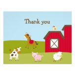 Farm Animal Barnyard Thank You Note Cards Personalised Announcement