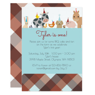 Farm Animal Birthday Party Invitation - Boy Colour