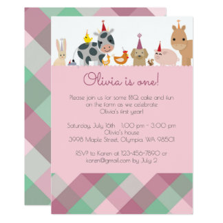 Farm Animal Birthday Party Invitation - Girl