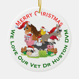 Farm Animal Christmas Gift for Veterinarian Round Ceramic Decoration