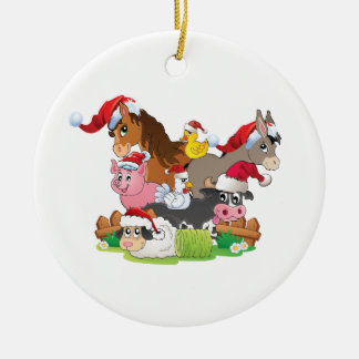 Farm Animal Christmas Round Ceramic Decoration