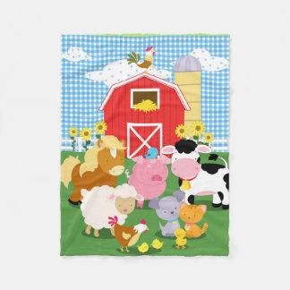 Farm Animal Gingham Flannel Blanket