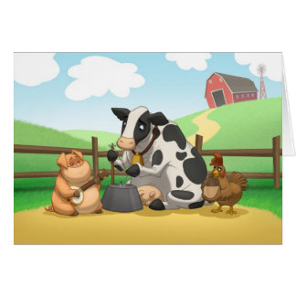 Farm Animal Jug Band Card (Blank Inside)