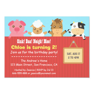 Farm Animal Red Fence Birthday Party Invitations
