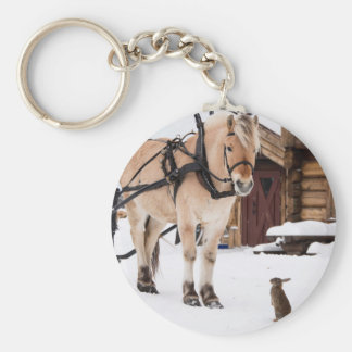 Farm animal talk horse and rabbits basic round button key ring