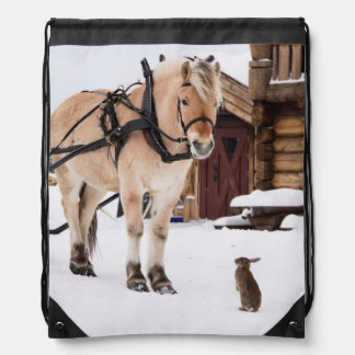 Farm animal talk horse and rabbits drawstring bag