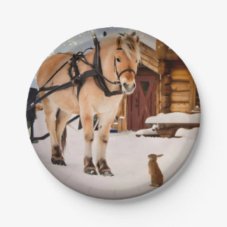 Farm animal talk horse and rabbits paper plate