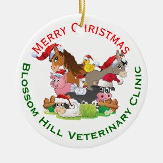 Farm Animal Veterinary Christmas Round Ceramic Decoration