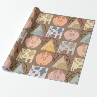 Farm Animal Wrapping Paper on Brown Background