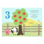 Farm Animals Apple Tree Kids Birthday Party Invite