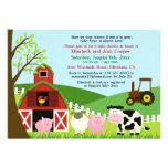 Farm Animals Baby Shower Flat Invitation
