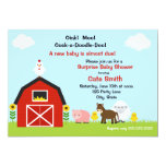 Farm Animals Baby Shower Invitation Cards