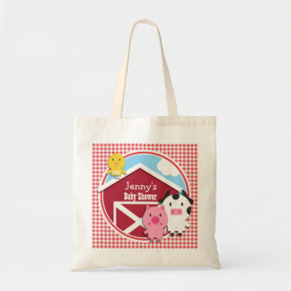 Farm Animals Baby Shower; Red & White Gingham Budget Tote Bag