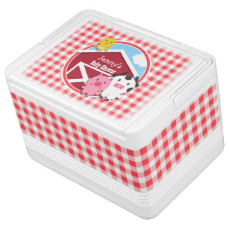 Farm Animals Baby Shower; Red & White Gingham Igloo Cool Box