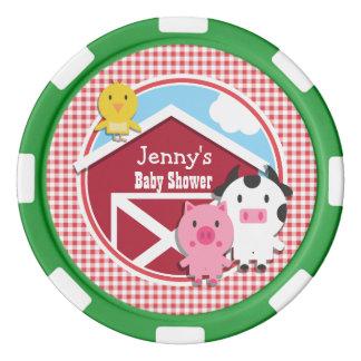 Farm Animals Baby Shower; Red & White Gingham Poker Chips Set