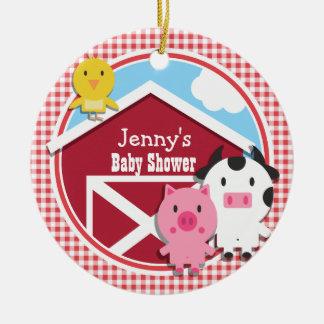 Farm Animals Baby Shower; Red & White Gingham Round Ceramic Decoration