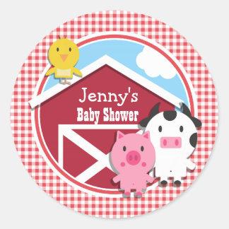 Farm Animals Baby Shower; Red & White Gingham Round Sticker