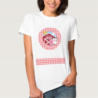 Farm Animals Baby Shower; Red & White Gingham T Shirt