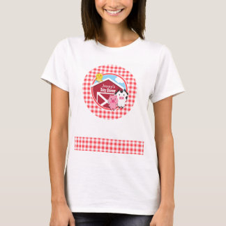 Farm Animals Baby Shower; Red & White Gingham T-Shirt