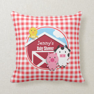 Farm Animals Baby Shower; Red & White Gingham Throw Cushion