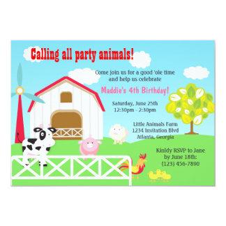 Farm Animals Barnyard Birthday Party 13 Cm X 18 Cm Invitation Card