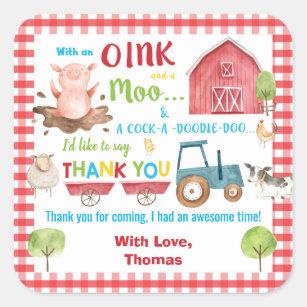 Farm Animals Barnyard Birthday Thank You Favor Square Sticker
