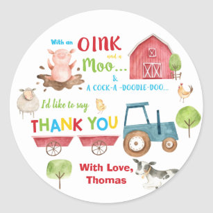 Farm Animals Barnyard Birthday Thank You Favour Classic Round Sticker