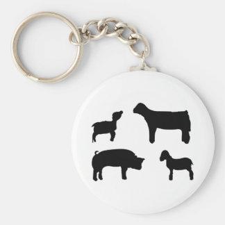 Farm Animals Basic Round Button Key Ring