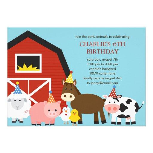 Farm Animals Birthday Party Invitation Invites