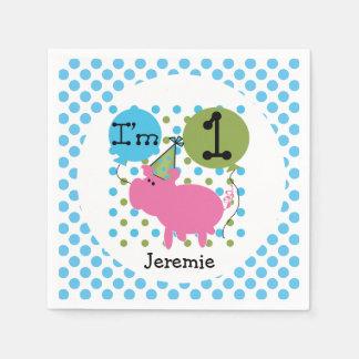 Farm Animals Blue Pig 1st Birthday Paper Napkins