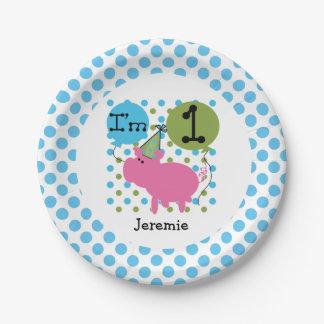 Farm Animals Blue Pig 1st Birthday Paper Plates