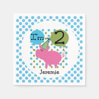Farm Animals Blue Pig 2nd Birthday Paper Napkins