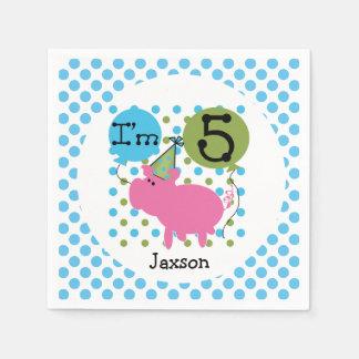 Farm Animals Blue Pig 5th Birthday Paper Napkins
