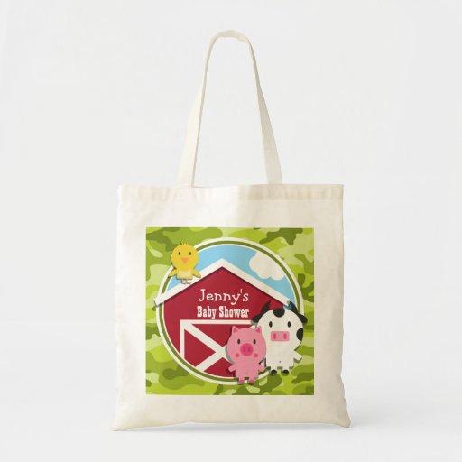 Farm Animals; bright green camo, camouflage Canvas Bags