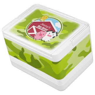 Farm Animals; bright green camo, camouflage Igloo Cool Box