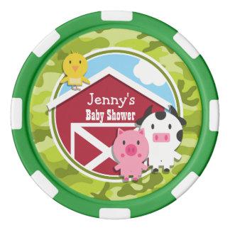 Farm Animals; bright green camo, camouflage Poker Chips
