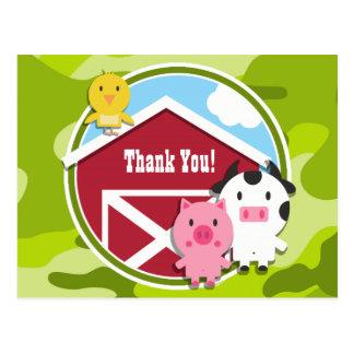 Farm Animals; bright green camo, camouflage Postcards