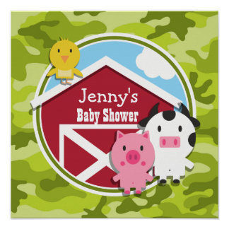 Farm Animals; bright green camo, camouflage Posters