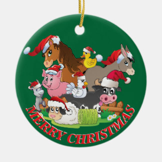 Farm Animals Christmas CUSTOM YOUR NAME AND DATE Christmas Tree Ornaments