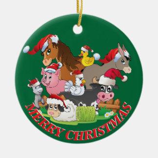 Farm Animals Christmas CUSTOM YOUR NAME AND DATE Round Ceramic Decoration