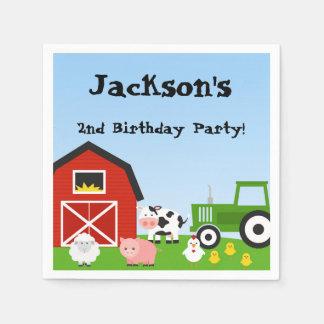 Farm Animals, Cow, Tractor, Sheep, Pigs, Birthday Paper Napkin